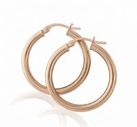 9ct Rose Gold Hoops 25mm